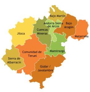 mapa provincia de Teruel por comarcas