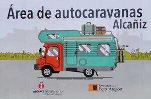 cartel área de autocaravanas Alcaniz